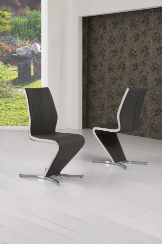 Zico Grey & White Strip Z Designer Dining Chair